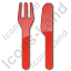 Restaurant Fork Knife Parallel Plain Red Icon