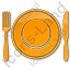 Restaurant Tableware Plain Orange Icon, PNG/ICO, 64x64