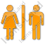 Restroom Women Man Plain Orange Icon