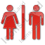 Restroom Women Man Plain Red Icon, PNG/ICO, 64x64