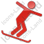 Snowboarding Plain Red Icon