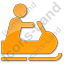 Snowmobiling Plain Orange Icon, PNG/ICO, 64x64