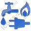 Water Gas Electricity Plain Blue Icon