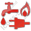 Water Gas Electricity Plain Red Icon