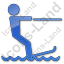 Waterskiing Plain Blue Icon, PNG/ICO, 64x64