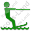 Waterskiing Plain Green Icon