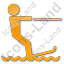 Waterskiing Plain Orange Icon