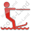 Waterskiing Plain Red Icon