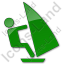 Windsurfing Plain Green Icon, PNG/ICO, 64x64