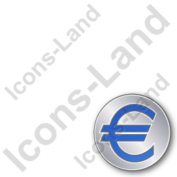 Overlay Currency Euro Plain Blue Icon