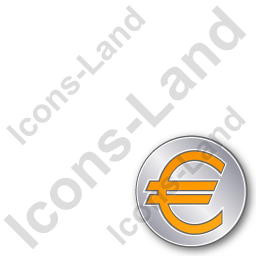 Overlay Currency Euro Plain Orange Icon