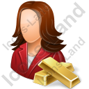 Banker Female Light Icon, PNG/ICO, 128x128