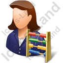 Bookkeeper Female Light Icon, PNG/ICO, 128x128