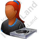 Disc Jockey Female Dark Icon, PNG/ICO, 128x128