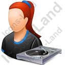 Disc Jockey Female Light Icon