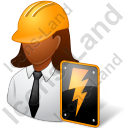 Electrical Engineer Female Dark Icon, PNG/ICO, 128x128
