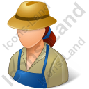 Farmer Female Light Icon, PNG/ICO, 128x128