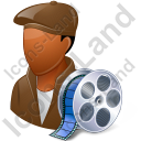 Film Maker Male Dark Icon, PNG/ICO, 128x128