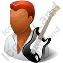 Guitarist Male Dark Icon, PNG/ICO, 128x128