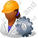 Machine Operator Female Dark Icon, PNG/ICO, 128x128