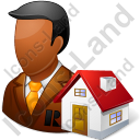 Real Estate Broker Male Dark Icon, PNG/ICO, 128x128