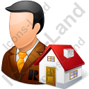 Real Estate Broker Male Light Icon, PNG/ICO, 128x128