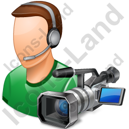 Cameraman Male Light Icon, PNG/ICO, 256x256