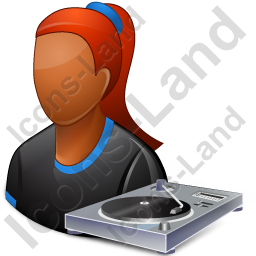 Disc Jockey Female Dark Icon, PNG/ICO, 256x256