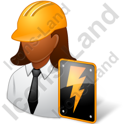 Electrical Engineer Female Dark Icon, PNG/ICO, 256x256
