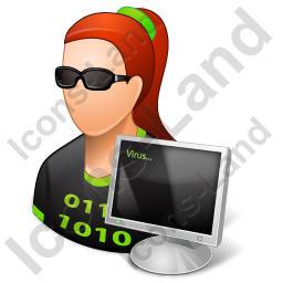 Hacker Female Light Icon, PNG/ICO, 256x256