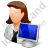 Computer Administrator Female Light Icon, PNG/ICO, 48x48