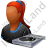 Disc Jockey Female Dark Icon, PNG/ICO, 48x48