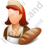 Baker Female Light Icon, PNG/ICO, 64x64