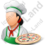 Chef Pizza Female Light Icon