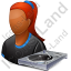 Disc Jockey Female Dark Icon, PNG/ICO, 64x64