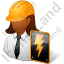 Electrical Engineer Female Dark Icon, PNG/ICO, 64x64