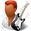 Guitarist Male Dark Icon, PNG/ICO, 64x64