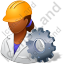 Machine Operator Female Dark Icon, PNG/ICO, 64x64