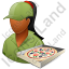 Pizza Deliveryman Female Dark Icon