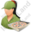Pizza Deliveryman Female Light Icon