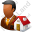 Real Estate Broker Male Dark Icon, PNG/ICO, 64x64