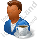 Person Coffee Break Male Dark Icon, PNG/ICO, 128x128