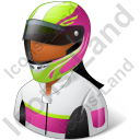 Race Car Driver Female Dark Icon, PNG/ICO, 128x128