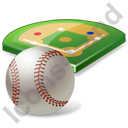 Baseball Field Ball Icon, PNG/ICO, 128x128
