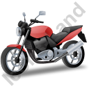 Cruiser Motorcycle Red Icon, PNG/ICO, 128x128
