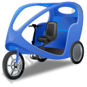 Pedicab Blue Icon, PNG/ICO, 128x128