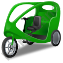 Pedicab Green Icon, PNG/ICO, 128x128