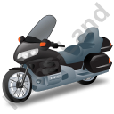 Touring Motorcycle Black Icon, PNG/ICO, 128x128