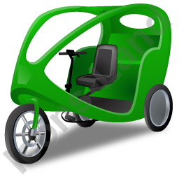 Pedicab Green Icon, PNG/ICO, 256x256