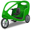 Pedicab Green Icon, PNG/ICO, 64x64